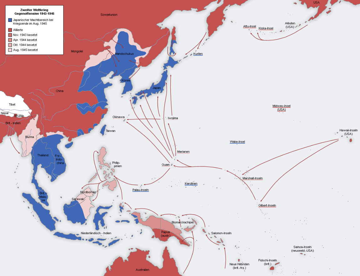 Frente del Pacífico, Segunda Guerra Mundial 1943-1945