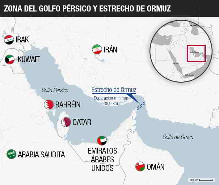 Mapa de los países del Golfo Pérsico Oriente Medio