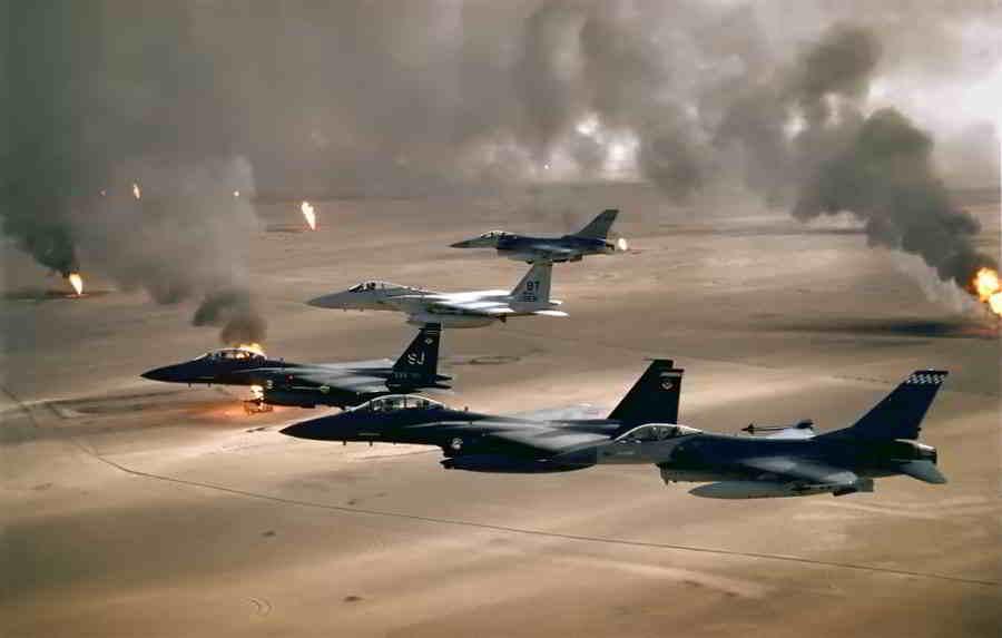 cazas de la coalición durante la operación tormenta del desierto