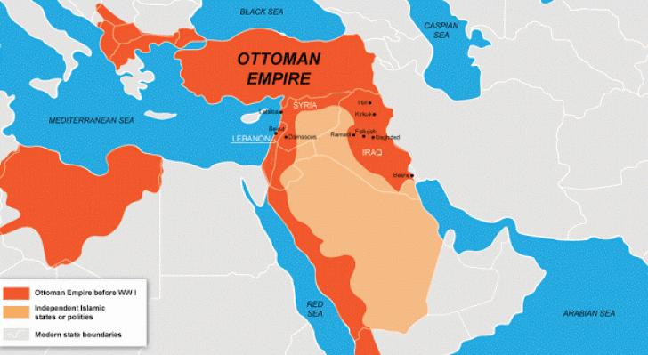 Imperio Otomano durante la Primera Guerra Mundial mapa territorios
