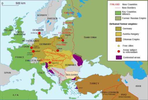 Mapa de Europa tras el Tratado de Versalles