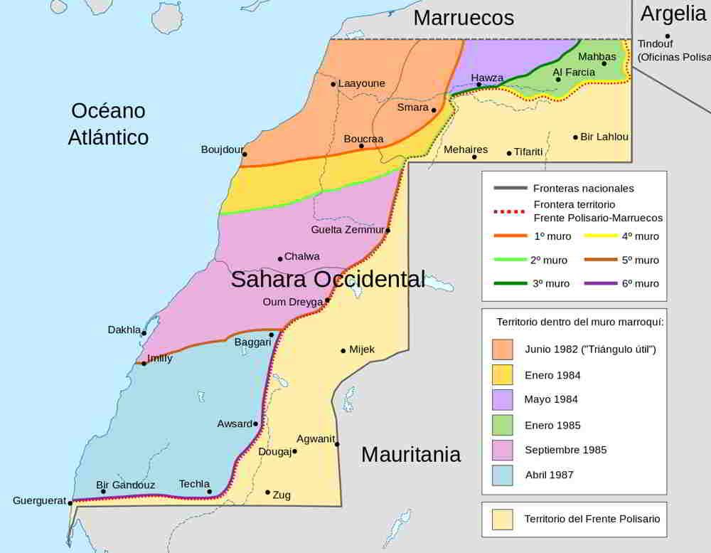 División y muros del Sáhara Occidental